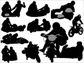 stock photo of sidecar  - Black silhouettes of side cars and motorcycles - JPG