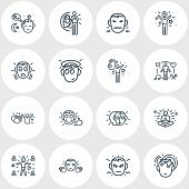 Illustration Of 16 Emoji Icons Line Style. Editable Set Of Innocent, Intelligence, Satisfied And Oth poster