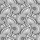 Monochrome Seamless Pattern With Floral Motifs. Endless Texture With Leaves And Swirls. Natural Back poster
