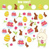 Counting Educational Children Game. How Many Objects. Easter Activity For Toddlers And Kids. Learnin poster