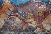 stock photo of constantinople  - part of the external fresco of the Moldovita - JPG