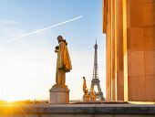 Famous Eiffel Tower From The Gardens Of The Trocadero Square, Paris, Capital Of France poster