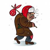 stock photo of hobo  - Homeless beggar hobo Santa Christmas crisis problem depression job work unemployment - JPG