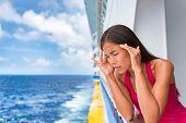 Sea sickness tourist woman seasick on cruise ship travel vacation feeling ill with nausea and headac poster