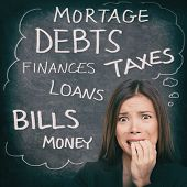 Financial stress Asian woman stressed with money problems bad credit, loans, debts, mortgage payment poster