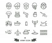 Set Of Army Icon,line Army And Military Icon Vector poster