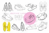 Illustration Of Set Hand Drawn Graphic Men And Women Footwear, Shoes. Sport Style, Gumshoes, Moccasi poster