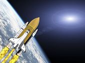 stock photo of missles  - Shuttle leaving earth 3d render with galaxy flare - JPG