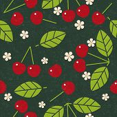 Cherry  Seamless Pattern. Red Ripe Cherry With Leaves And Flowers On Shabby Background. Original Sim poster