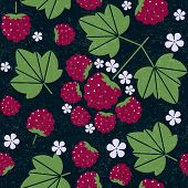 Raspberry Seamless Pattern. Raspberries With Leaves And Flowers On Shabby Background. Original Simpl poster