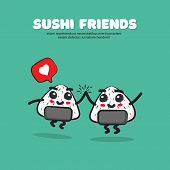Vector Illustration Of Cartoon Cute Sushi With Text Sushi Friends. poster