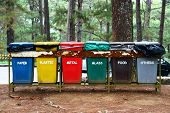 stock photo of segregation  - color coded trash bins for waste segregation - JPG