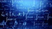 Math concept - Mathematical integral formulas on blue background. 3d rendering poster