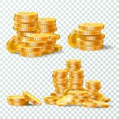 Stack Of Gold Coins. Golden Coin Pile, Money Stacks And Golds Piles Isolated Vector Set poster