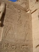 picture of aswan dam  - Hieroglyphics outside the temple at Abu Simbel in Egypt - JPG