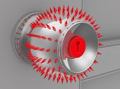 Dangerous Door Knob. Dangerous Door Handle With Red Spikes Isolated On A White Background. 3d Illust poster