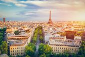 Cityscape of Paris at sunset. French capital city. Popular european destination. poster