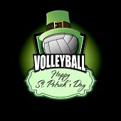 Happy St. Patricks Day. Volleyball Logo Template Design. Volleyball Ball With St. Patrick Hat. Patte poster