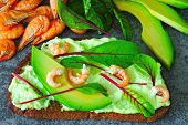 Toasts With Avocado Paste And Shrimp. Open Sandwiches With Shrimp And Avocado. Keto Diet Concept. Sa poster