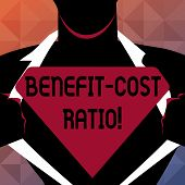 Text Sign Showing Benefit Cost Ratio. Conceptual Photo Relationship Between The Costs And Benefits O poster