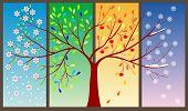 Four Seasons Of The Year - Art Illustration Springtime, Winter, Four Seasons, Tree, Illustration poster