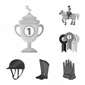 Vector Design Of Race  And Horse  Sign. Set Of Race  And Racing  Vector Icon For Stock. poster