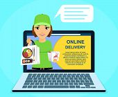Online Sushi Delivery Service. Young Courier Girl Holding Sushi In Her Hand. Online Application. Onl poster