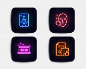 Neon Glow Lights. Set Of Face Search, Crane Claw Machine And Music Making Icons. Strategy Sign. Find poster