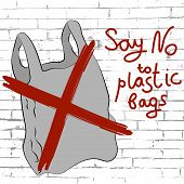 Say No To Plastic Bags Poster. Disposable Cellophane And Polythene Package Prohibition Sign. Polluti poster