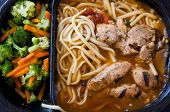 stock photo of frozen tv dinner  - An image of unappealing tv dinner of chicken - JPG