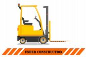 Forklift. Heavy Construction Machine. Building Machinery. Special Equipment. Vector Illustration. poster