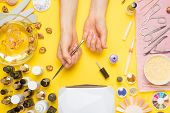 Manicure - Means For Creating, Gel Polishes, All For Nail Care, Beauty Concept, Care. On A Yellow Ba poster