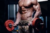Sexy Strong Bodybuilder Athletic Fitness Man Pumping Up Abs Muscles Workout Bodybuilding Concept Bac poster