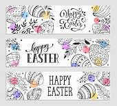 Easter Eggs Composition Hand Drawn On White Background. Decorative Horizontal Banner From Eggs With  poster