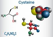 Cysteine  (l-cysteine, Cys, C) Proteinogenic Amino Acid Molecule.  Structural Chemical Formula And M poster