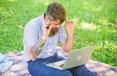 Looking For Inspiration. Man Bearded With Laptop Sit Meadow Nature Background. Blogger Becoming Insp poster