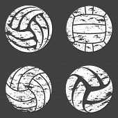 Set Of White Volleyball Grunge Silhouettes Isolated On Gray Background poster