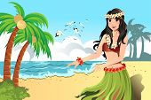 image of hula dancer  - A vector illustration of Hawaiian hula dancer girl - JPG