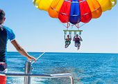 Happy Couple Parasailing On Miami Beach In Summer. Couple Under Parachute Hanging Mid Air. Having Fu poster