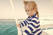 Little Boy At Sea. Marine Trip Od Little Boy. Summer Holiday Of Little Boy. Stylish Little Boy Trave poster