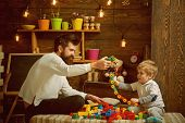 Fathers Day Concept. Father And Baby Son Play With Toys On Fathers Day. I Have Fathers Day Everyday. poster