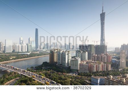 Panorama of Guangzhou in daytime, Zhujiang New Town.