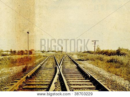 railway on grunge background