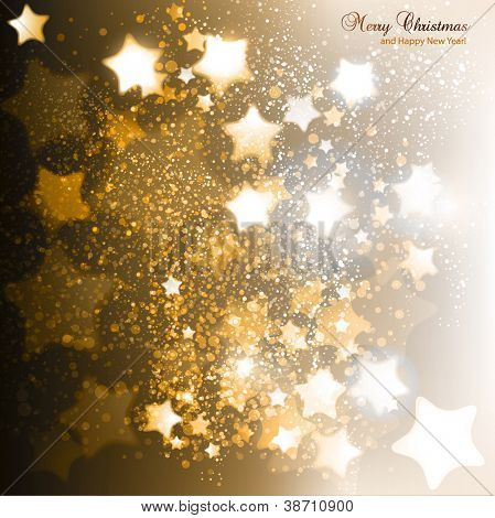 Elegant Christmas background with golden stars. Vector illustration
