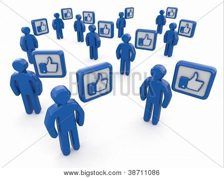 Concept of social network. Men with like sign on white background. 3d