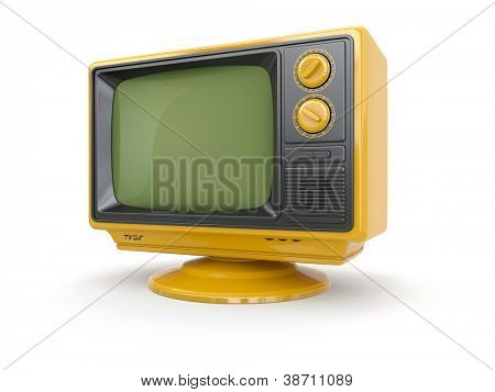 Yellow vintage retro tv on white background. 3d