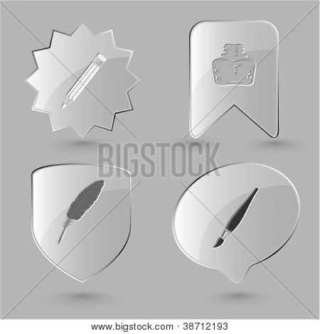 Bildung-Icon-Set. Pinsel, Lake, Feder, Bleistift. Glas-Tasten.