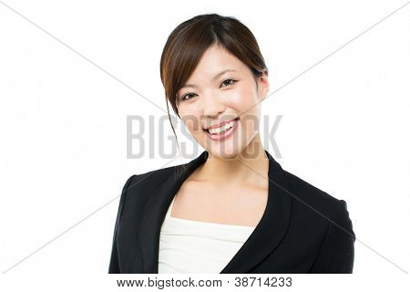 Beautiful hair woman on white background. Portrait of asian.  bu