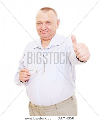 Smiling aged man with glasses showing thumb up sign. Isolated on white background, mask included
