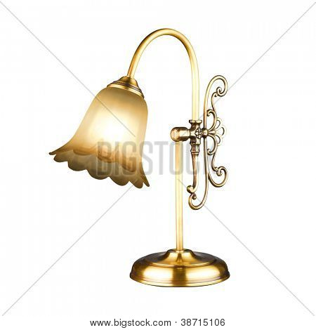 Vintage table lamp isolated on white with clipping path
